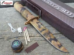 "Wartech 8.5"" Brown Forest Camo Survival Knife With Fire Star"