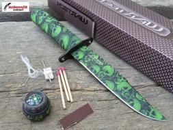 "Wartech 8.5"" Green Skull Camo Survival Knife With Fire Start"