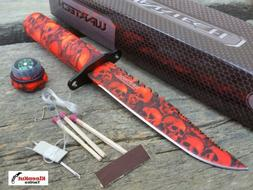 "Wartech 8.5"" Red Skull Camo Survival Knife With Fire Starter"