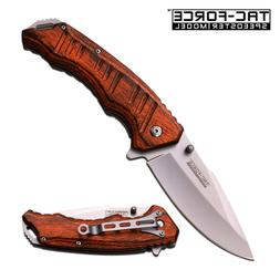 TAC FORCE ASSISTED OPENING FOLDING KNIFE LINERLOCK WOOD HAND