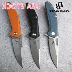 Ball Bearing Flipper Folding Knife D2 Blade Camping Hunting
