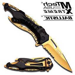 Mtech Ballistic Gold Titanium Bottle Opener Folding Pocket K