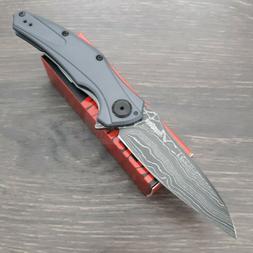 """Kershaw Bareknuck Folding Knife 3.5"""" Damascus Steel Blade Gr"""