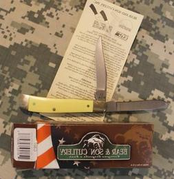 BRAND NEW Bear & Son Cutlery USA Trapper C307 Yellow Delrin