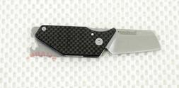 KERSHAW Black Carbon Fiber PUB Straight Folding Pocket Knife