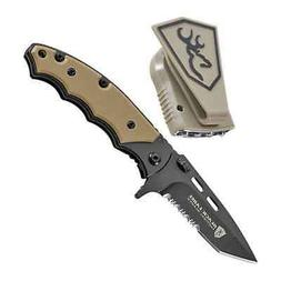 Browning Black Label Folding Knife & Cap Light Combo Tan, 37