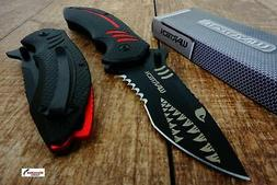 Black Wartech PWT267 Thumb Open Blade Spring Assisted Shark