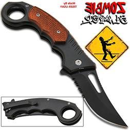 """8.25"""" Black Trigger Assisted Folding Pocket Knife - Orange P"""