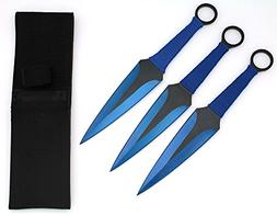 Snake Eye Tactical BLUE 3 Piece Two Tone Throwing Knife Set