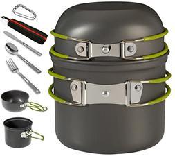Wealers Camping Cookware Pot & Pan Set Hiking Backpacking Ou