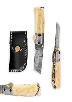 Custom Made Damascus Folding Knife Tanto Blade