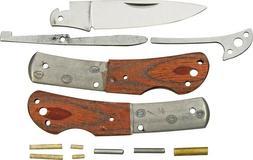 Rough Rider Custom Shop 3 1/2in Knife Kit, clip blade, brown