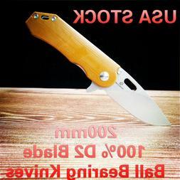 D2 Blade Ball Bearing Knives G10 Handle Folding Knife Surviv