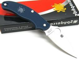 Spyderco Dark Blue UK Penknife Plain Edge Knife - C94PDBL