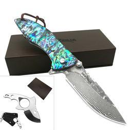 ALBATROSS EDC Damascus Folding Knife Stainless Steel Fish Fi