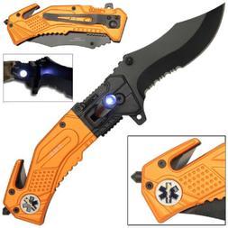 EMS EMT TACTICAL RESCUE FOLDING KNIFE w/ LED LIGHT STAR OF L