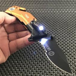 EMT EMS RESCUE SPRING ASSISTED FOLDING POCKET KNIFE w/ LED F