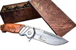 Engraved Box & Custom Pocket Knives- Personalized Wooden Gif