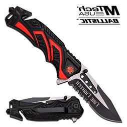 "8"" Fire Fighter Red MTECH SPRING ASSISTED FOLDING KNIFE Blad"