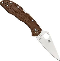 Spyderco Flat Ground Delica 4 Brown FRN with Plain Edge