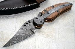 FN-41 Custom Handmade Damascus Steel Folding Knife- Stunning