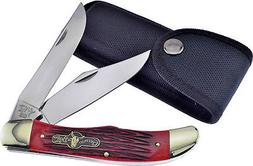 "GERMAN BULL FOLDING HUNTER KNIFE RED BONE 5 1/4"" CLOSED w/ B"