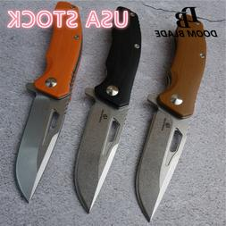 Folding Knife D2 Blade G10 Handle Camping Hunting Tactical K