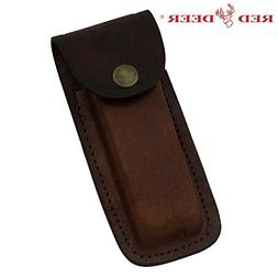 RED DEER Folding Knife Genuine Leather Pouch