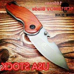 Folding Knife Wooden Handle Pocket Tactical Knives Camping M
