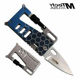 "Folding Wallet Knife Multi-Tool 3.25"" Mtech Blue Aluminum Ta"