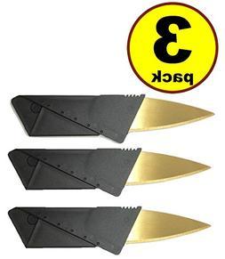 3 pack Gold blade Credit Card Knife Folding Blade Knife Pock