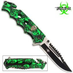 Green Skull Zombie Slayer GRIP HANDLE ASSISTED OPENING RESCU