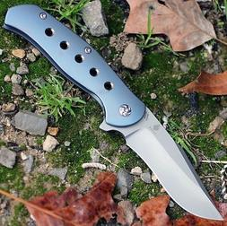 KIZER 4495 LANCER 2 FLIPPER FOLDING KNIFE BLUE TITANIUM HAND