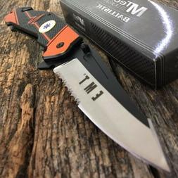 MTECH Knife Spring Assisted Blade Emt Ems Orange Rescue Fold
