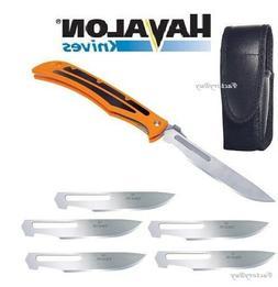 Havalon Knives Baracuta Blaze Skinning Folding Knife Orange