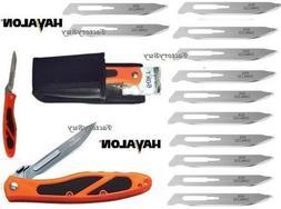 Havalon 60AEDGE Orange Black Piranta Edge Folding Knife + Sh