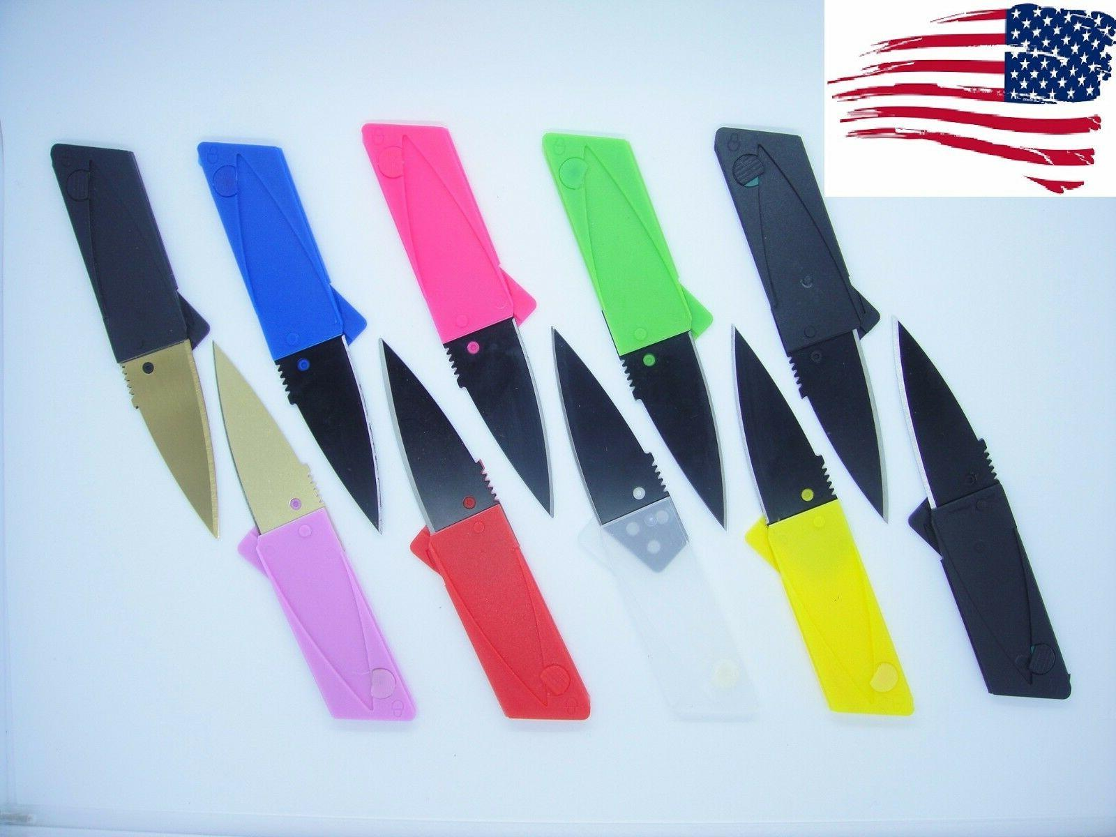 10 Multi Color Credit Card Knives folding wallet pocket surv
