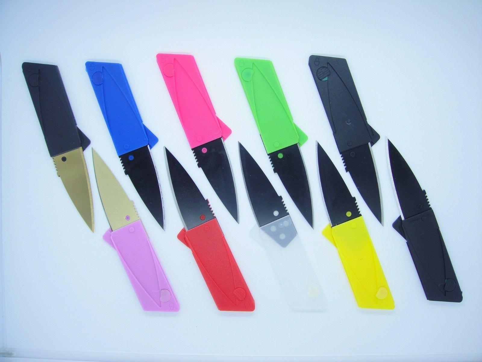 20 Multi Color Credit Card Knives folding wallet pocket surv