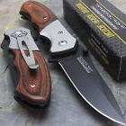 "7"" TAC FORCE SPRING ASSISTED TACTICAL PAKKAWOOD FOLDING KNIF"