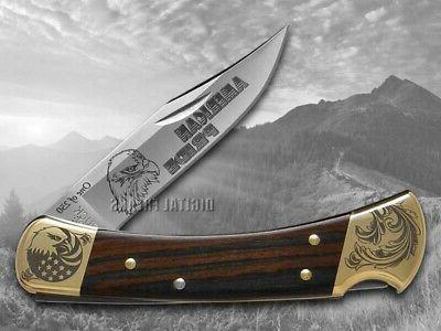 Buck Folding Hunter Knife Wood 1/250 420HC