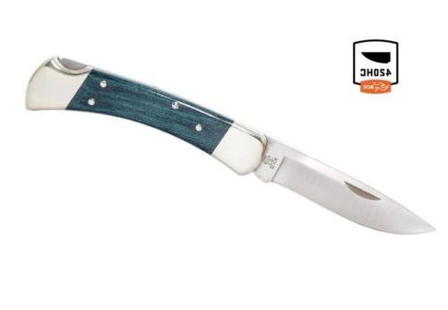 Buck Knives 110 Indigo Blue Nickel Silver Drop Point Folding