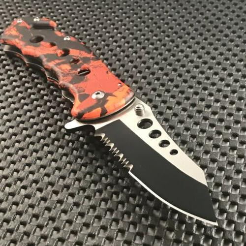 """7.75"""" TAC FORCE SPRING ASSISTED TACTICAL RED CAMO FOLDING KN"""