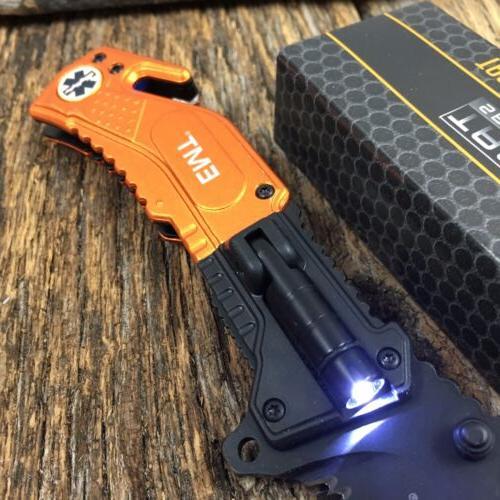"""8.25"""" EMS RESCUE SPRING ASSISTED POCKET KNIFE LED FLASHLIGHT"""