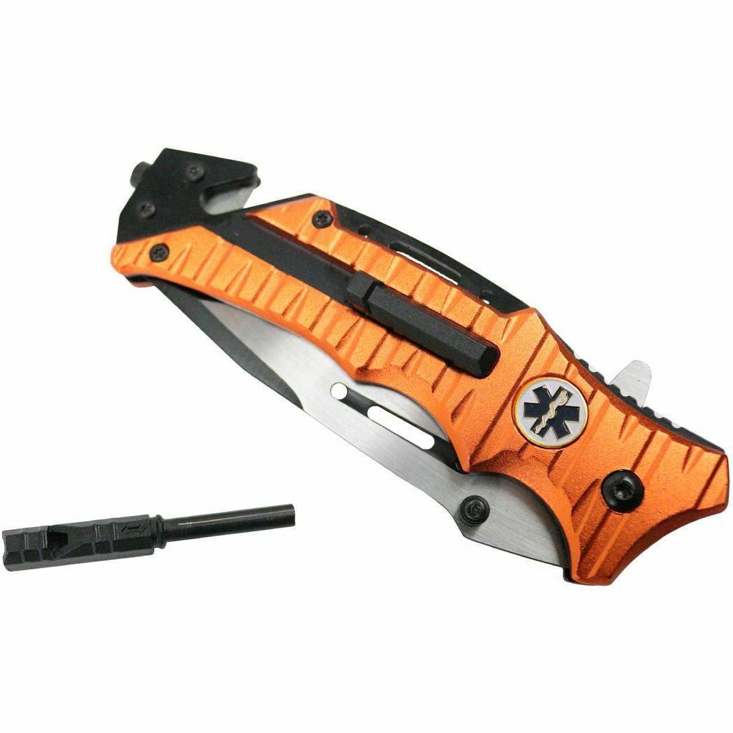 """8.25"""" Tactical Orange EMS Open Folding Pocket Knife"""