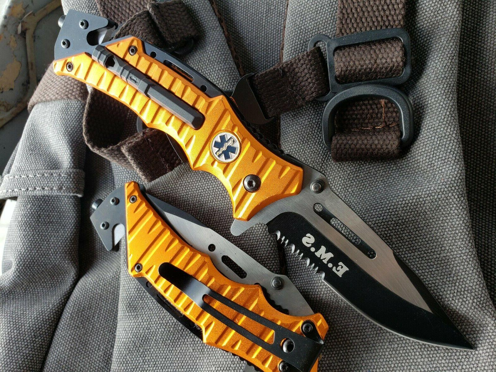 """8.25"""" Tactical Orange EMT EMS Open Folding"""
