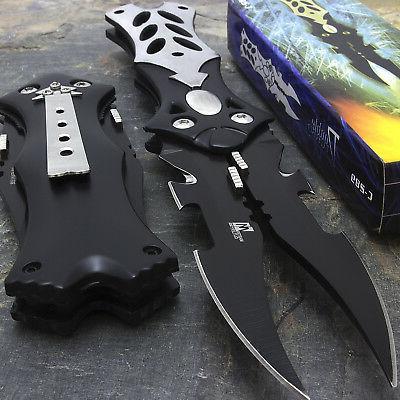 "8.5"" Mtech USA Midnight Black Dual Blade Fantasy Pocket Fold"