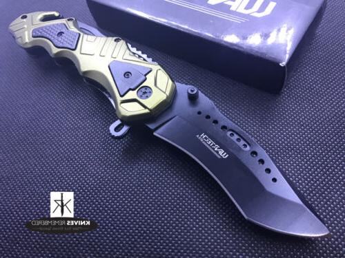 "8.5"" Wartech Spring Assisted Opening Tactical Rescue Folding"