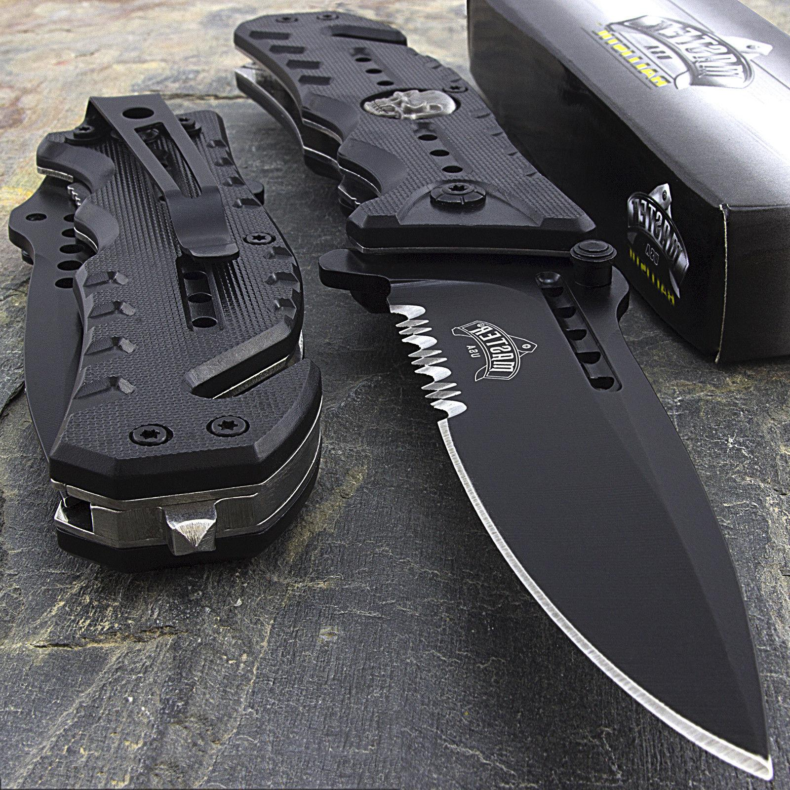 "8"" MASTER USA SKULL SPRING OPEN ASSISTED TACTICAL FOLDING PO"