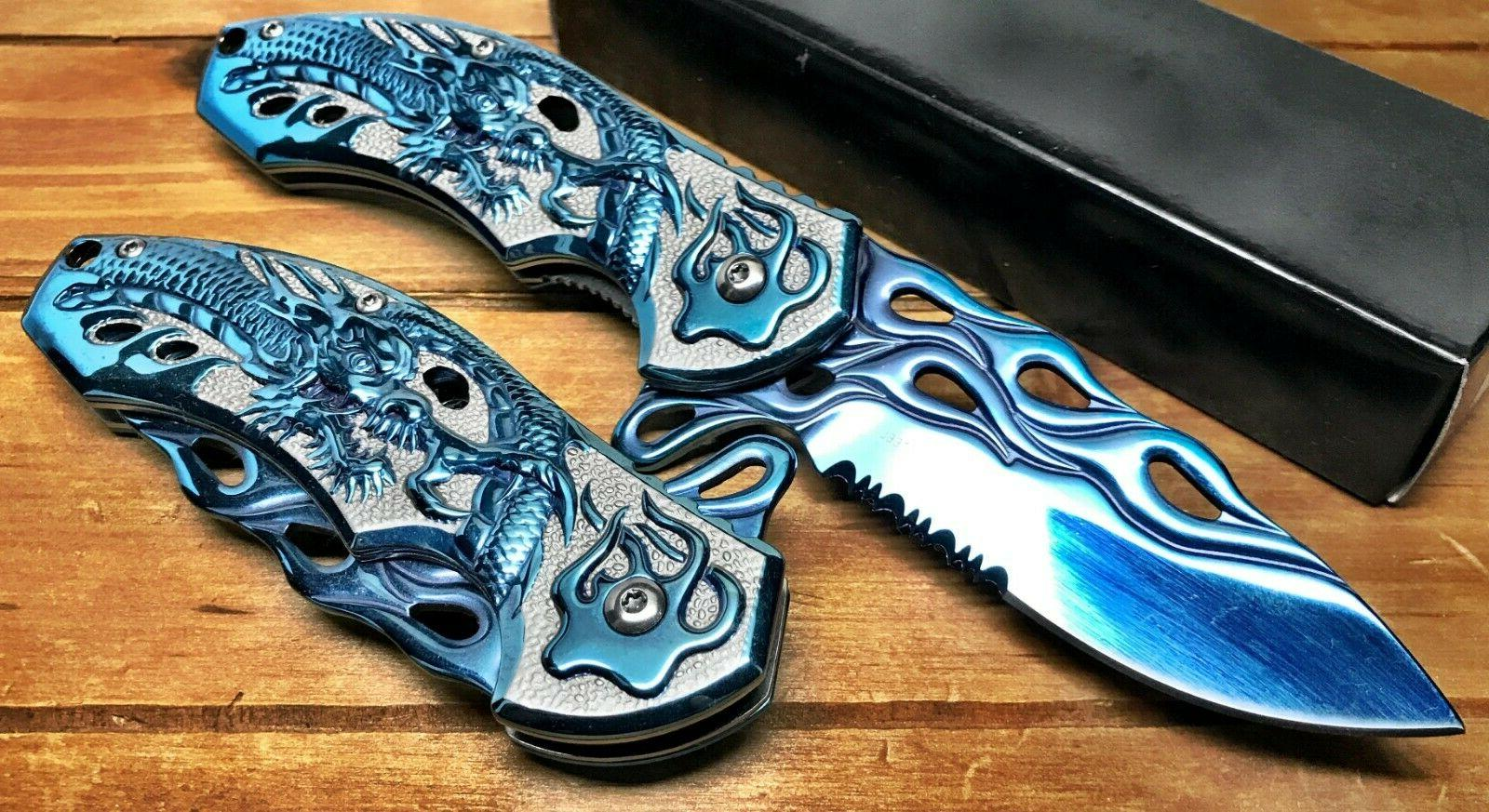 """8"""" Pocket Knife Spring Assisted Dragon Ball Fiery Hunting Ta"""