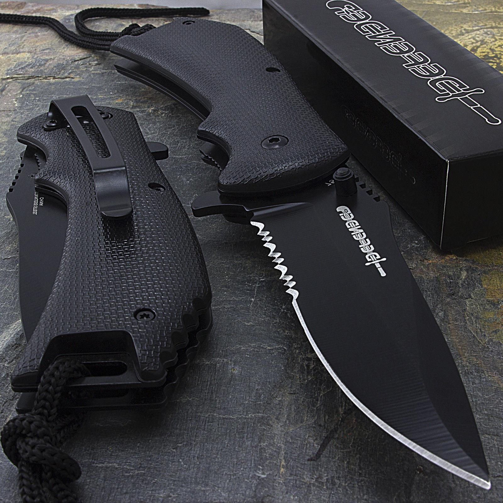 "8"" SPRING ASSISTED TACTICAL FOLDING POCKET KNIFE Blade Open"